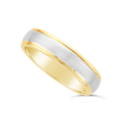 5mm 9ct Yellow Gold Gents Court Shape Wedding Ring With A 3mm 9ct White Gold Onlay With A V Groove On Each Side Of The White Band